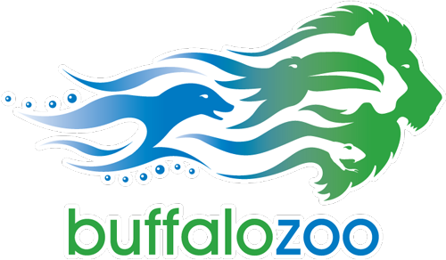 """At the top is an artistic rendering of a seal, a toucan, and a lion all woven together by blue and green wavy lines. Underneath is the word """"buffalo"""" in green and """"zoo"""" in blue."""