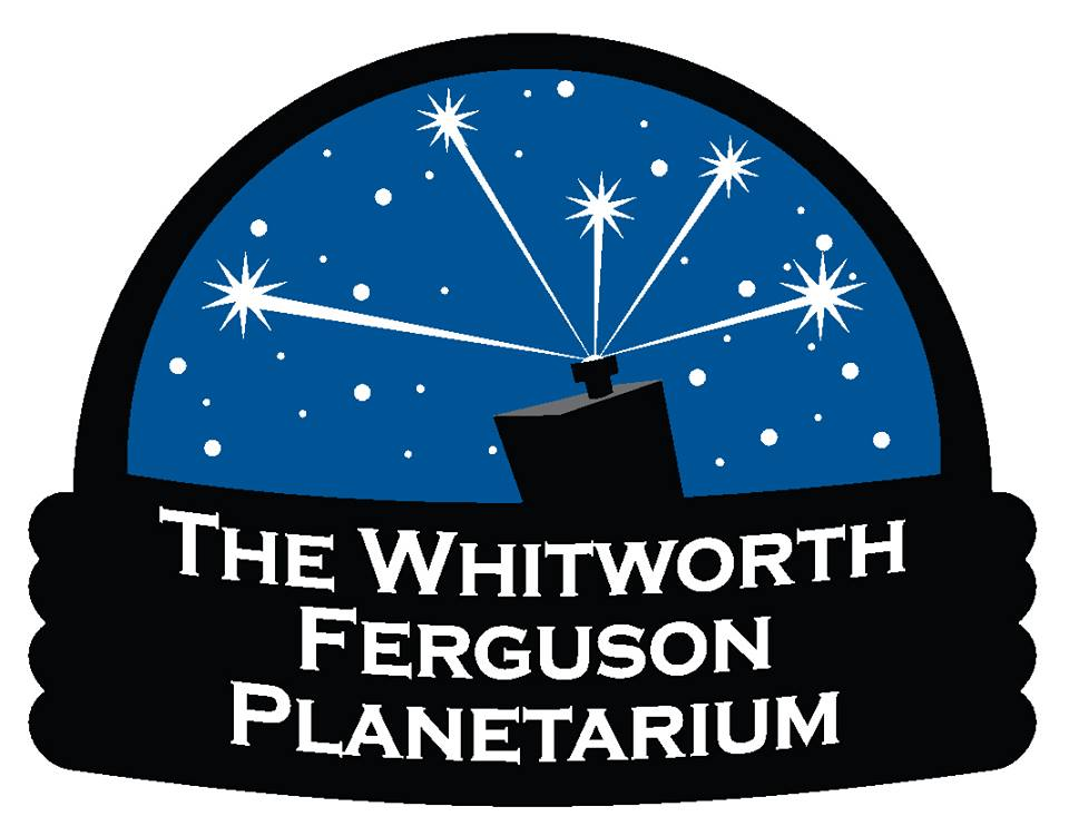 """This logo has a wide base topped by a dome. On the base are the words """"The Whitworth Ferguson Planetarium."""" Inside the dome is a blue night sky bisected by a simple telescope and scattered, white circles and stars."""