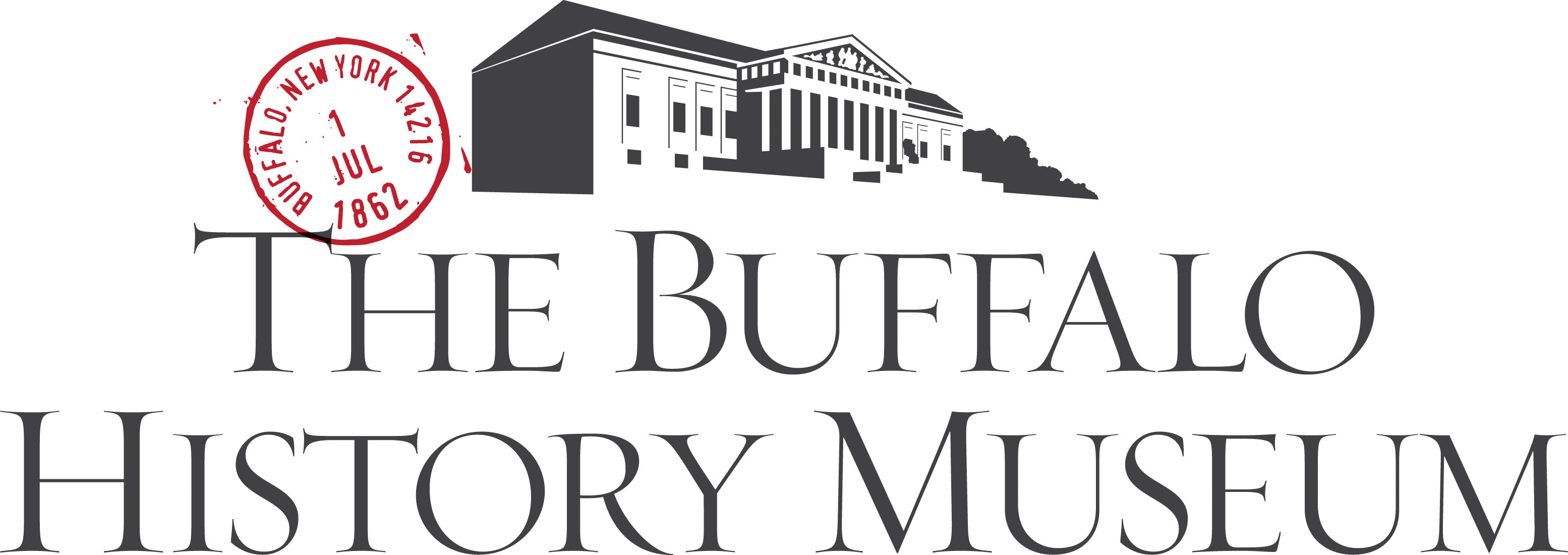 """An outline image of a long building with columns at the front sits above larger words that read """"The Buffalo History Museum."""" A circular postage stamp, which reads """"Buffalo, New York 14216, 1, Jul, 1862"""" is in the left hand corner of the logo."""