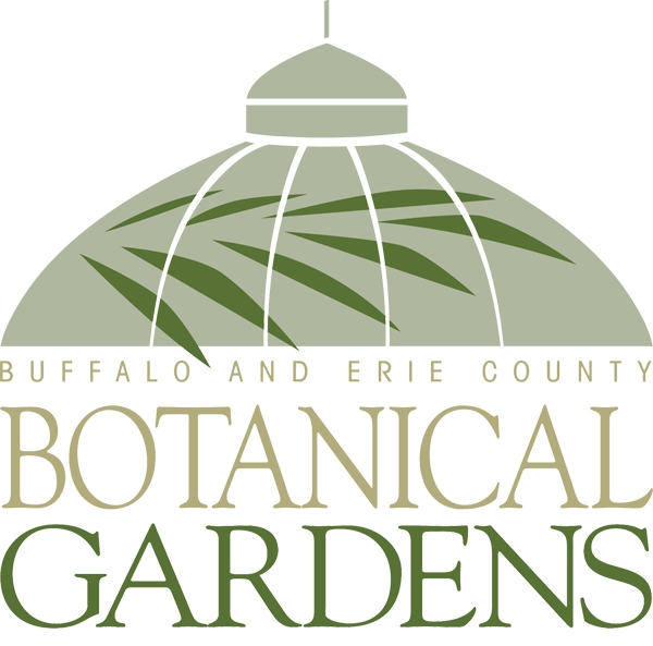 """A stylized greenhouse dome with an overlaid fern (both shades of green) sit atop the words """"Buffalo and Erie County Botanical Gardens"""""""