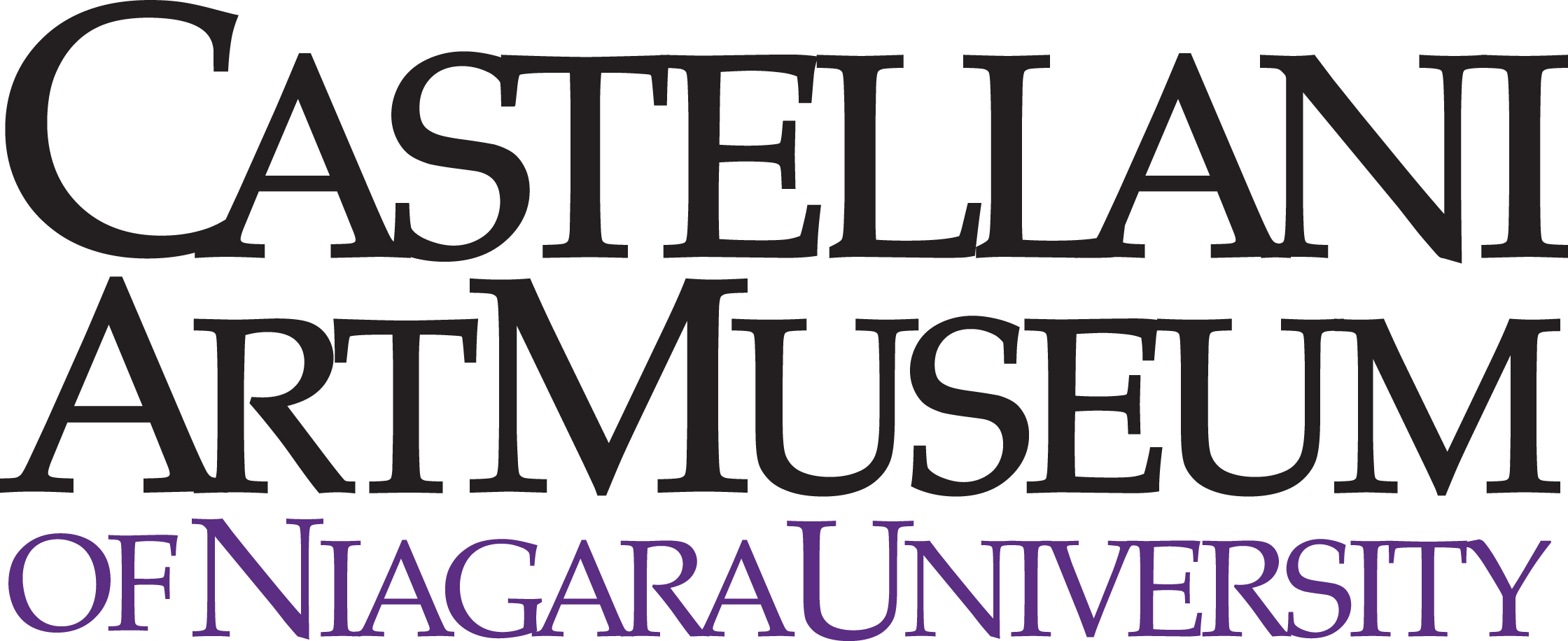 """This logo features the words """"Castellani Art Museum"""" in black over the slightly-smaller, purple words """"of Niagara University."""""""