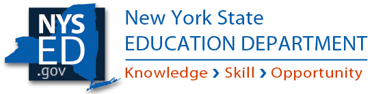 "Logo, with a graphic to the left that includes a cobalt-blue shape of New York State overlaying a black scare. Inside this image is the URL ""nysed.gov."" On the right there is cobalt text reading New York State Education Department, and underneath in orange font are the words ""Knowledge, Skill, Opportunity"" separated by blue arrows."