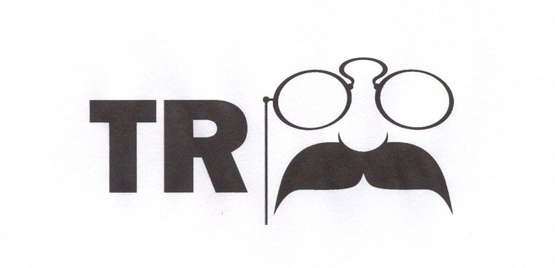"""On the left-hand side of this logo are boldface, capital letters """"TR."""" On the right is a simplistic drawing of a pair of pince-nez glasses (glasses worn only on the nose) with a chain on the left side. These glasses rest on top of a small nose with a large, drooping mustache."""